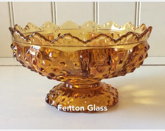 Fenton Glass/Colonial Amber Hobnail Candle Bowl/Fenton Candle Bowl/Fenton Art Glass/Fenton Hobnail Glass/Fenton Footed Decorative Bowl