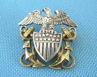 Amico Sterling World War II Navy Officer Eagle and Anchor Brooch