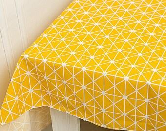 Geometric Fabric Yellow Cotton Linen Fabric Nordic Geometric Fabric for Curtain Quiltting Bag Home Decor - 1/2 yard f276