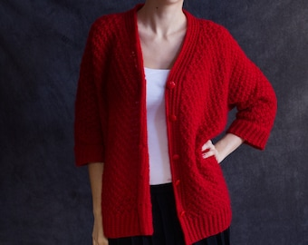 Red cozy sweater, handknitted
