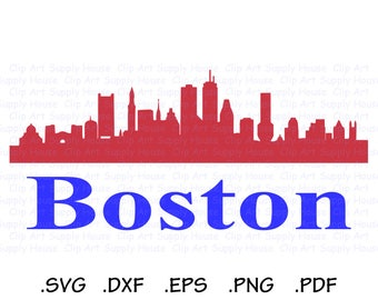 Boston Massachusetts Skyline Clipart Design, Silhouette and Cricut Software, DXF Files, SVG Font, EPS File, Svg Font, Silhouette - CA426