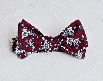 Rosewood Floral Self Tie Bow Tie