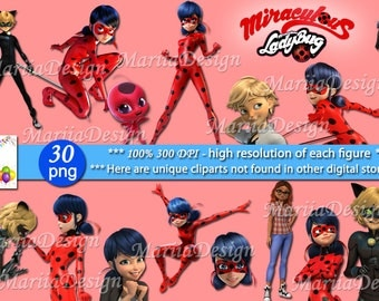 30 Ladybug and Super Cat Clipart - 30 PNG - 300 Dpi, Miraculous Ladybug clipart,Ladybug and super cat clip art,Instant download - ONLY FILES