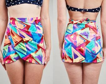 Sale! 80s Neon Geometric Triangle Pattern Beach Wrap Sarong • OS
