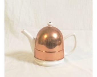 Vintage Ceramic Teapot With Copper Cozy