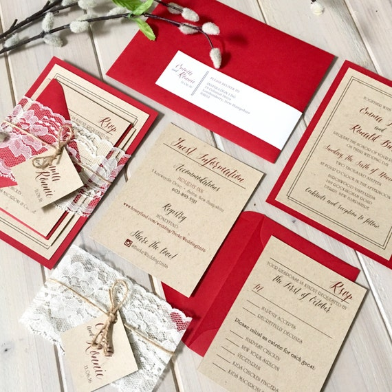 Red And Tan Rustic Wedding Invitations With Lace And Twine