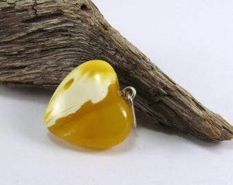 """Royal Baltic Amber Pendant 1.03"""" Yellow White Drop heart shape Amber Necklace 1,5 gram 925 Sterling Silver. Natural Amber Jewelry"""