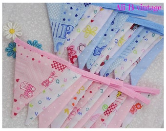 Baby girl and boy bunting double sided bunting girl bunting boy bunting nursery decor bunting pink baby bunting blue baby baby shower