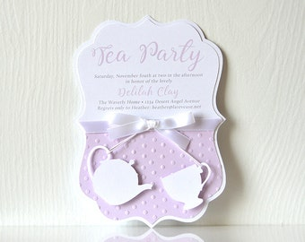 Tea Time Invitations: lavender tea party, for her, for mom, mother's day, holiday tea, coffee and latte, english tea celebration - LRD039P