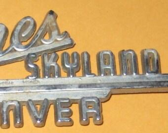 Vintage Car emblem Jones Skyland Mtrs Denver/ Old/ used/ vintage/ vehicle/