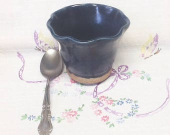 Handmade POTTERY SUNDAE CUP or Bowl with Scalloped Edge in Bright Navy Blue Glaze - Great for Other Desserts too