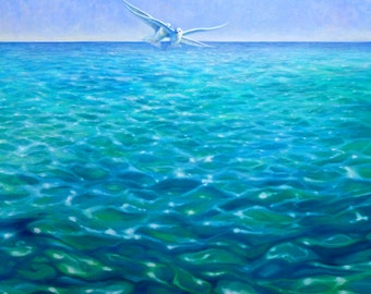 LARGE ORIGINAL Oil Painting - Angels of the Green Sea