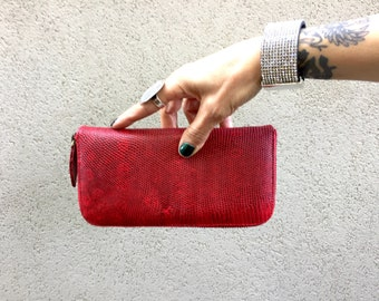 Lizard Skin Wallet. Exotic Skin Wallet, Red Leather Purse, Red Wallet called Zoe