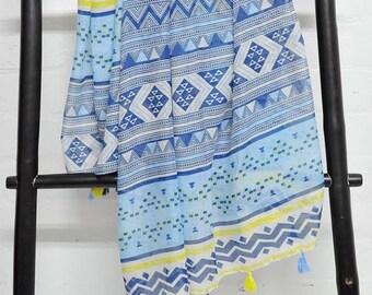 tribal scarf, geometric scarf, blue scarf, yellow scarf, tassel scarf