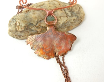 Collar female ginkgo leaf, copper pendant, chain, long bohemian necklace, nature necklace