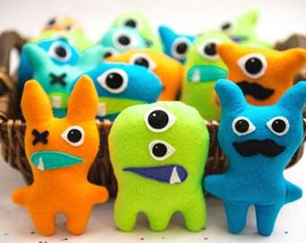 Little monster birthday party favors. Set of 3 monster party favors. Favors for monster bash or monster birthday bash. Stuffed felt monsters