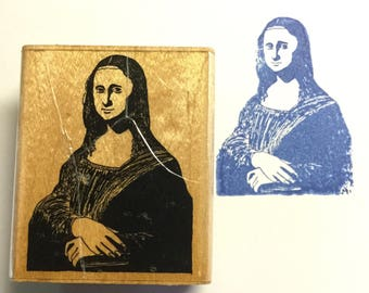 Museum Stamps, Da Vinci Mona Lisa Wooden Rubber Stamp Used