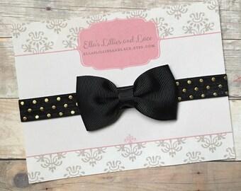 Black & Gold Bow Headband, Baby Girl Headband, Newborn Headband, Toddler Headband, Black Hair bow Headband, hair accessorie, baby gift