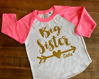 Big Sister Shirt - 3/4 Sleeve Pink Raglan Shirt with customizable lettering color