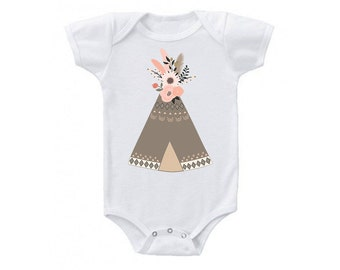 Teepee floral Onesie, Boho Baby Girl Clothes, Baby Girl Onesies, Baby Shower Gift, Teepee Onesie, Cute Baby Clothes, Cute Onesies, Tribal