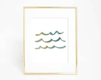 Wave Print, Digital Print, Sea Art, Wall Print, Nursery Wall Art Decor, Ocean Wall Art, Digital Download, Nursery Sea Art, Ocean Waves Print