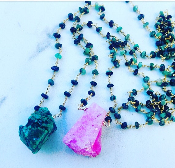 Pink or Green Drussy Quartz & Emerald Beaded chain Necklace