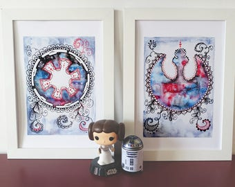 Alliance starbird, imperial crest, Star Wars symbol, Print of my zentangle mandala watercolor original art.
