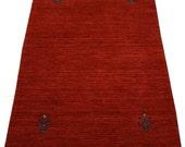 2.1x4 Gabbeh area rug, tribal area rug, minimal home decor, bathmat, rug for kitchen, mainstreetrugs, handmade wool rug, small red rug