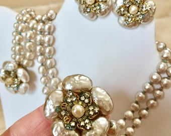 Miriam Haskell set baroque faux pearl floral design glass necklace earrings bracelet signed rhinestone clip on vintage