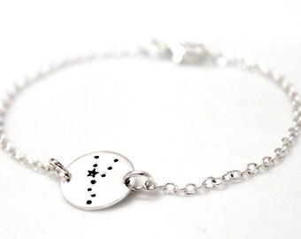 Taurus Bracelet Sterling Silver, Taurus Zodiac Charm Pendant, Zodiac Jewelry, Astrological Jewelry, Taurus Constellation Zodiac Bracelet
