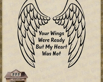 Sympathy svg etsy for Your wings were ready but my heart was not tattoo
