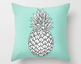 Turquoise Black and White Pineapple Throw Pillow , Decorative Throw Pillows , Pillow Cases , Throw Pillow Covers , Couch Pillows , Tropical