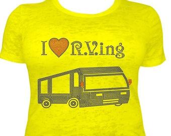 I Love RV'ing Custom Rhinestone Design