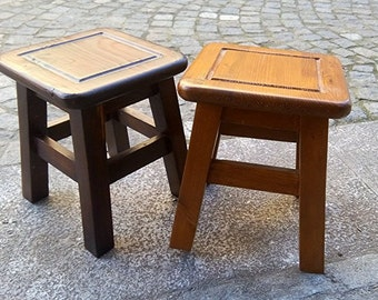 Square shaped wooden benches cherry and Walnut