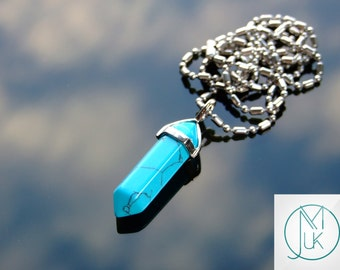 Blue Turquiose Crystal Point Pendant Manmade Gemstone Necklace FREE UK SHIPPING