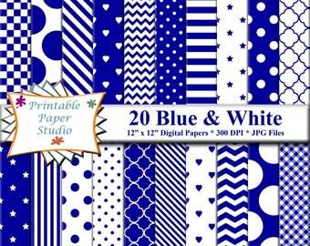 Blue Digital Paper Pack, Blue Paper for Scrapbooking, Digital File, Instant Download Blue Digital Scrapbook Paper 12x12 for Cardmaking