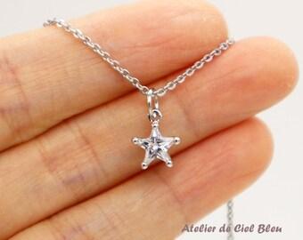 Star Necklace, Cubic Zirconia Star Necklace, Silver Plated CZ Star Necklace, Crystal Star Necklace, Star Jewelry, Cubic Zirconia Jewelry