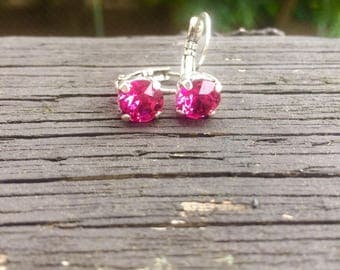 Fuchsia Swarovski crystal earrings drop down