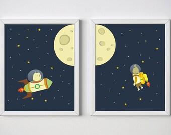 nursery space print, outer space, kids room decor, nursery rocket print, animal print, nursery decor, nursery print, nursery stars print