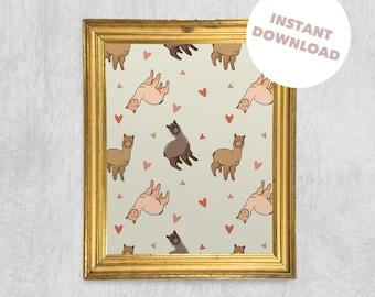 Printable Wall Art - Alpaca Pattern, Digital Download, Stylish Print, Children's Art