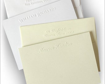 Polished Embossed Correspondence Cards - Personalized Embossed Stationery - 5108