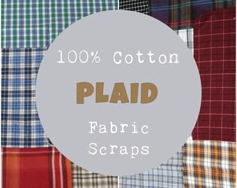 Plaid Fabric Scraps, Plaid Fabric Scrap Bundle, 100% Cotton Fabric, 4 oz, ~1 yard