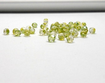 50 Crystal Limette Czech Metallic Rounds, 4mm Rounds, Beads, Supplies, Jewelry Making Supplies