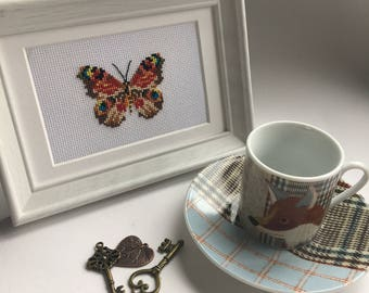 Butterfly Cross Stitch in White Frame