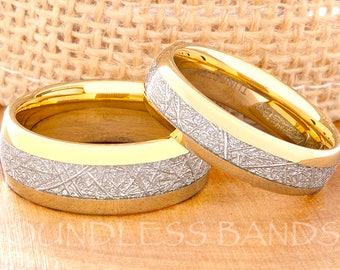 Tungsten Wedding Ring Tungsten Ring Mens Women's Wedding Ring Promise Anniversary Ring Dome 8mm 6mm Matching Ring Set Meteorite Inlay Yellow