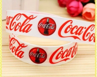 "Lot of 2 Metres of 7/8"" Grossgrain Ribbon - Coca-Cola - For Craft"
