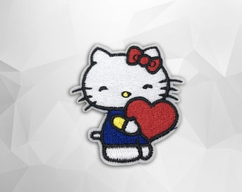 Hello Kitty&Strawberry Iron on Patch (M2)-Hello Kitty Cartoon Applique Embroidered Iron on Patch- Size 5.7x6.3 cm#