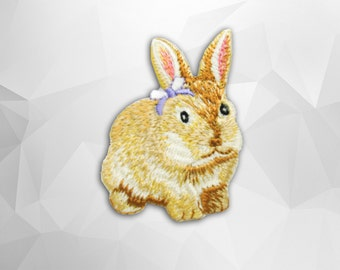 Rabbit Iron On Patch (M) -  Brown Fox cute Applique Embroidered Iron on Patch- Size 5.2x7.9 cm