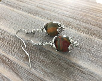 Picasso Stone Bead Earrings - Dangles