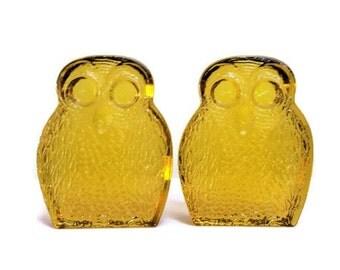 Vintage Blenko Owl Bookends